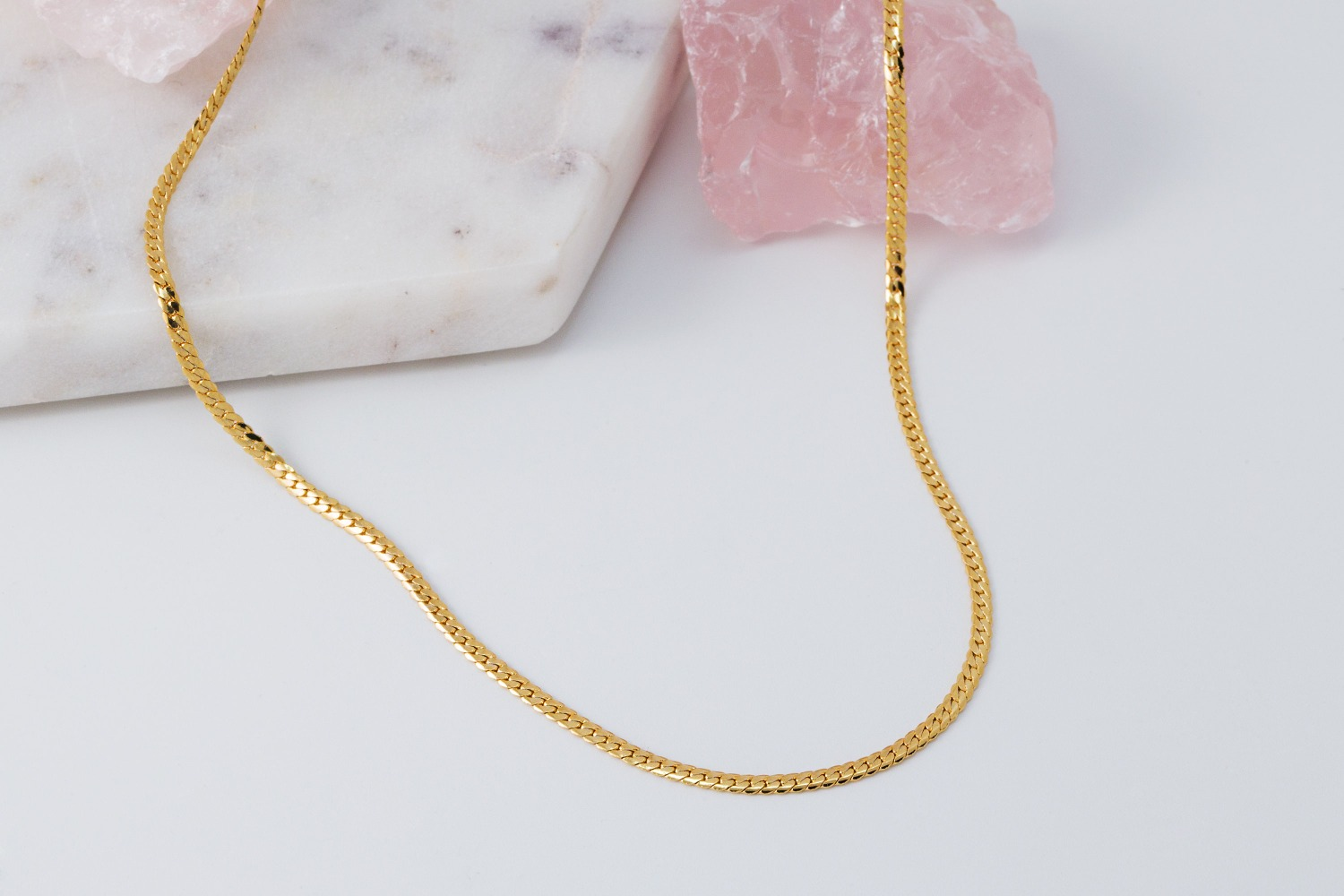 Flat chain necklace, N5114-G1