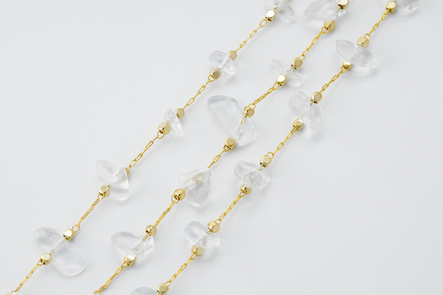 [CJ53-04] Rock crystal chain, Brass, White crystal, Nickel free, Beads chain, Dainty chain, Beaded chain, Necklace makings, 1m