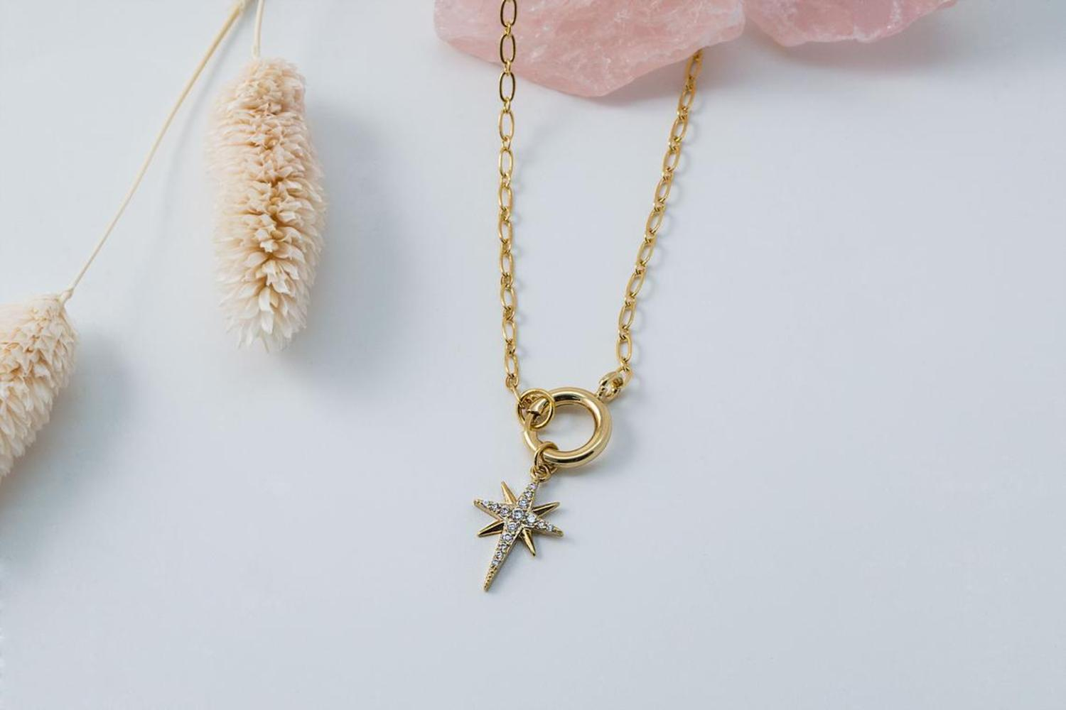 [NB19-05] Pave starburst necklace, Brass, Nickel free, Handmade jewelry, Fashion jewelry, Unique necklace, 1 piece