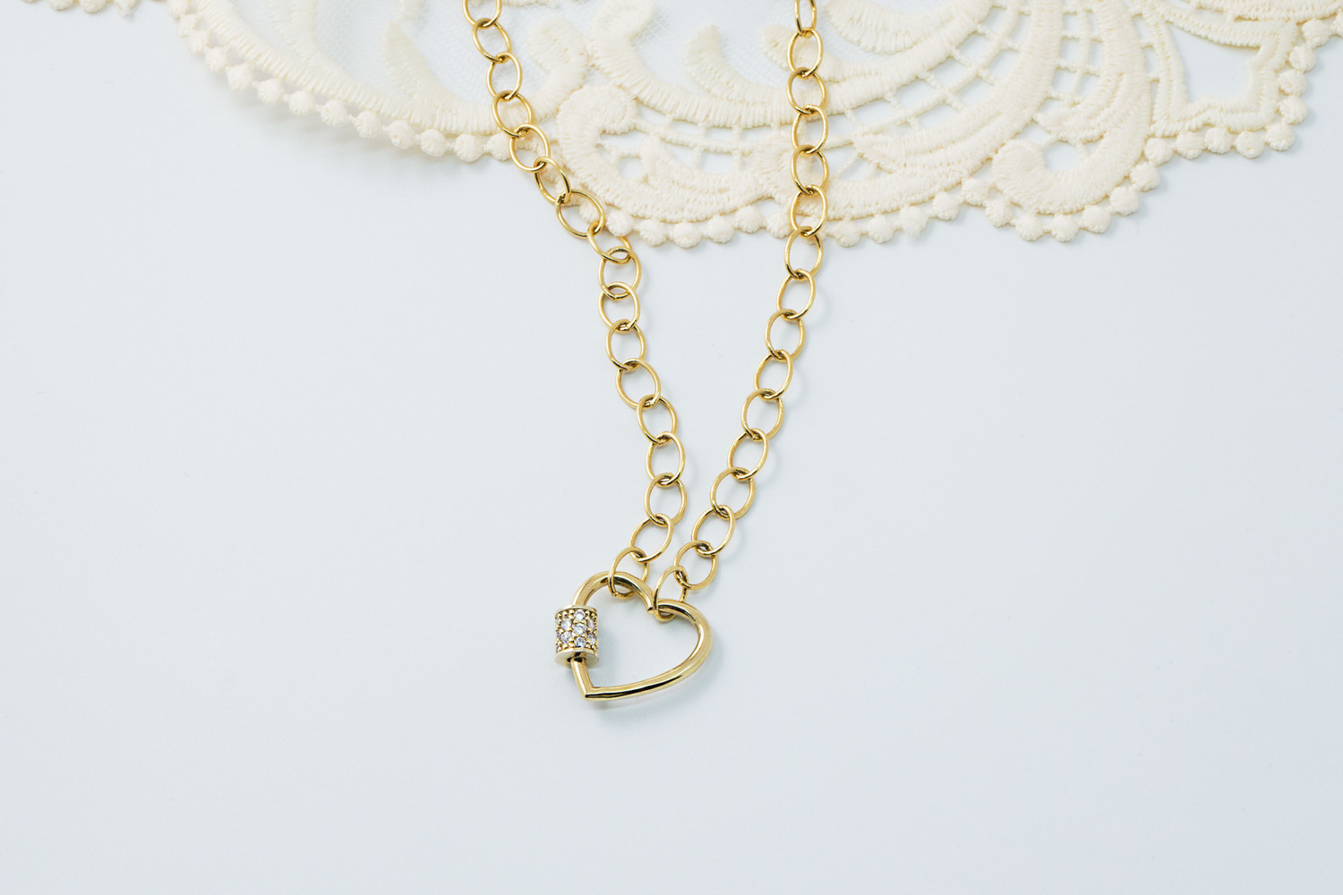 [NB19-03] Pave heart screw necklace, Brass, Nickel free, Handmade jewelry, Fashion jewelry, Cable chain necklace