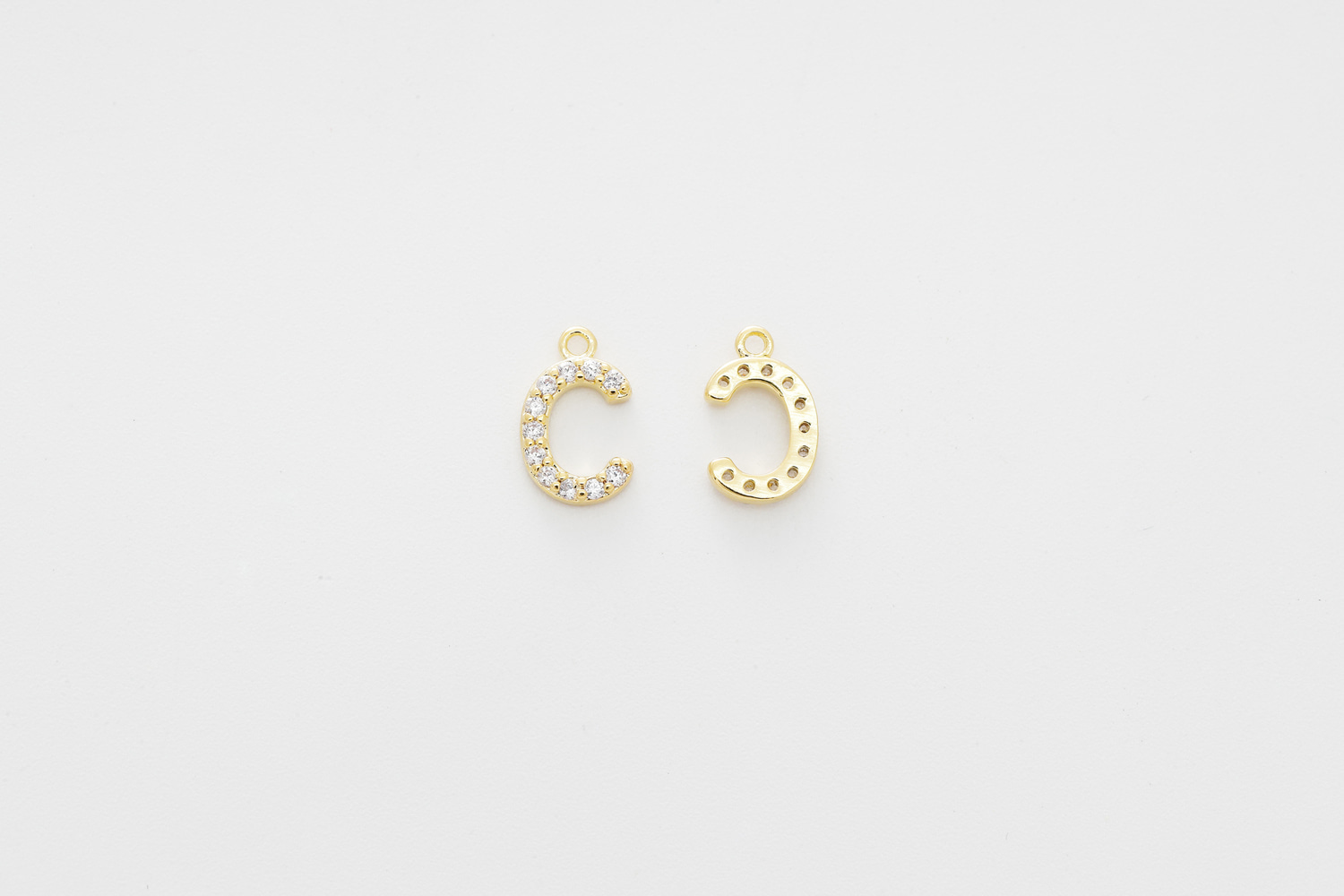 [AC-G20] Cubic capital letter charm C, Brass, Cubic zirconia, Nickel free, Jewelry making supplies, Alphabet charm, Initial charm, 1 piece
