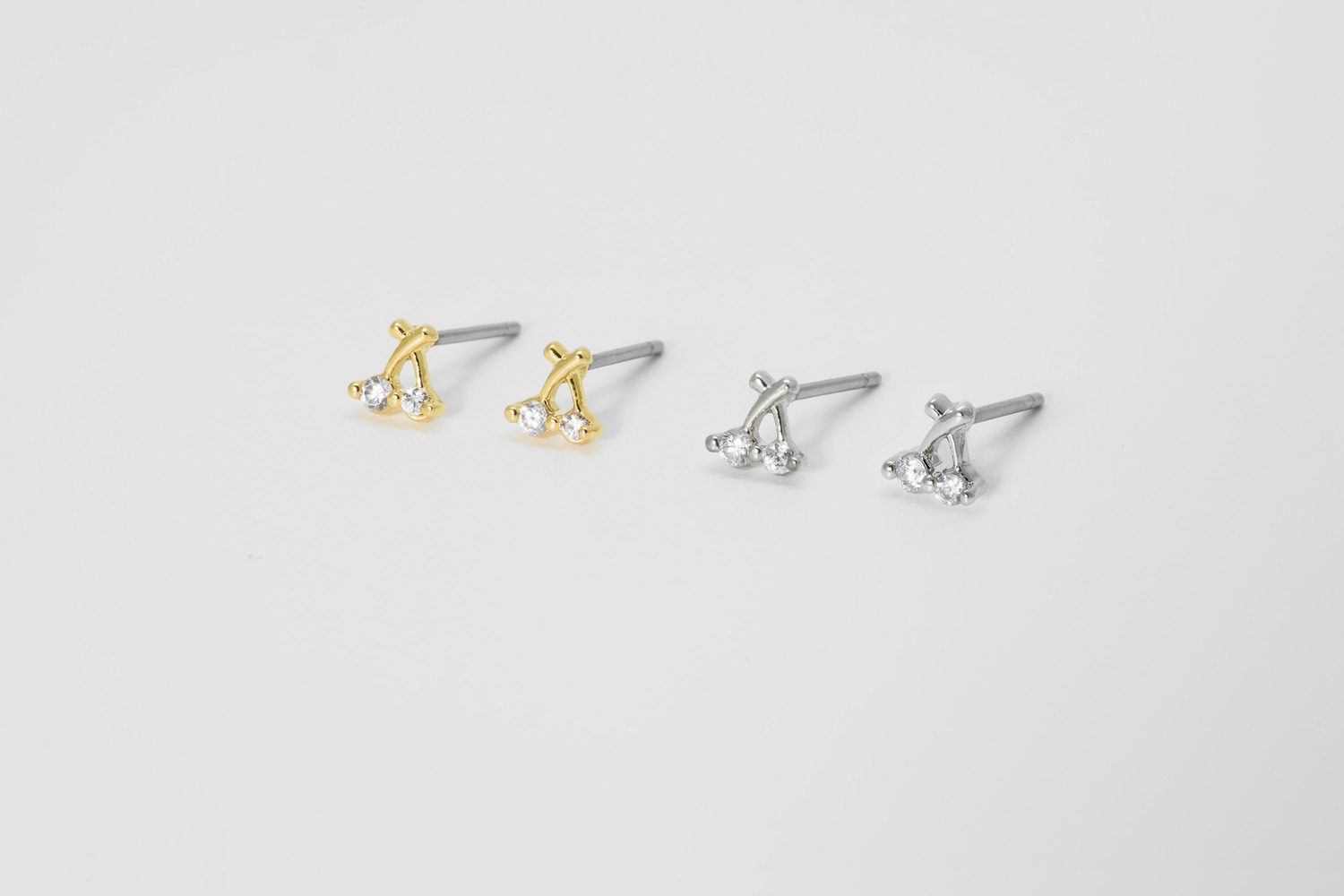 [EB20-33] Tiny cubic cherry stud earring, Brass, CZ, Nickel free, Handmade jewelry, Post earrings, Earring stud (D4-G10, D4-G10R)