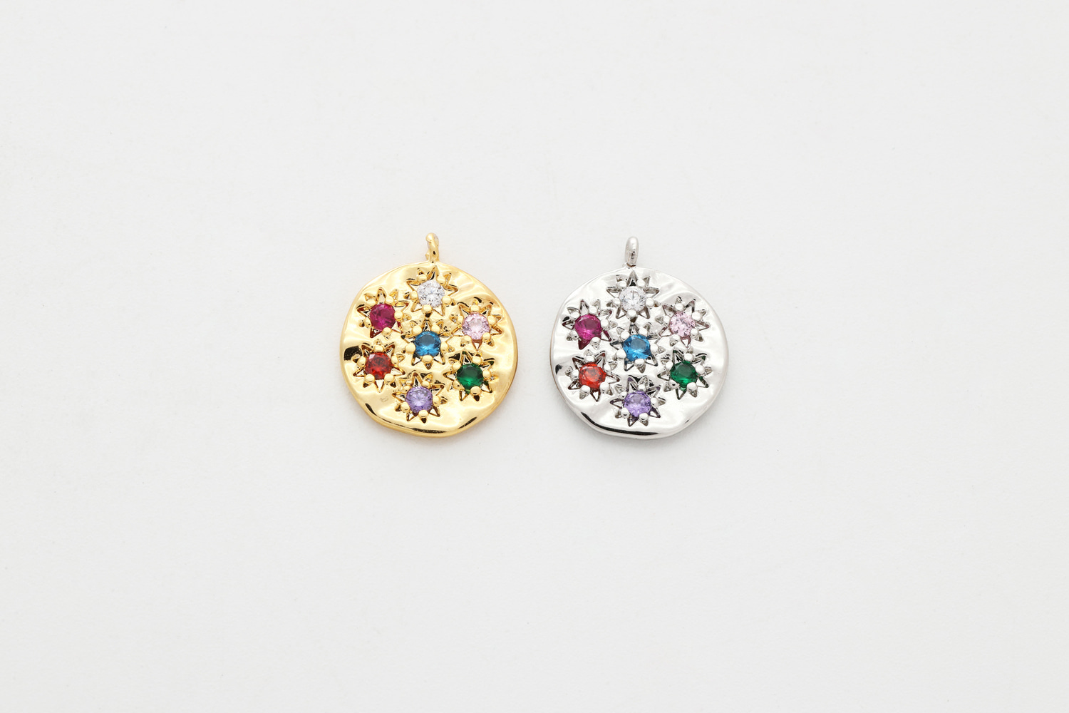 [Q11-VC2] Multi colored cubic round charm, CZ, Brass, Nickel free, Necklace makings, Jewelry supplies, Unique pendant, 1 piece (Q11-P9, Q11-P9R)