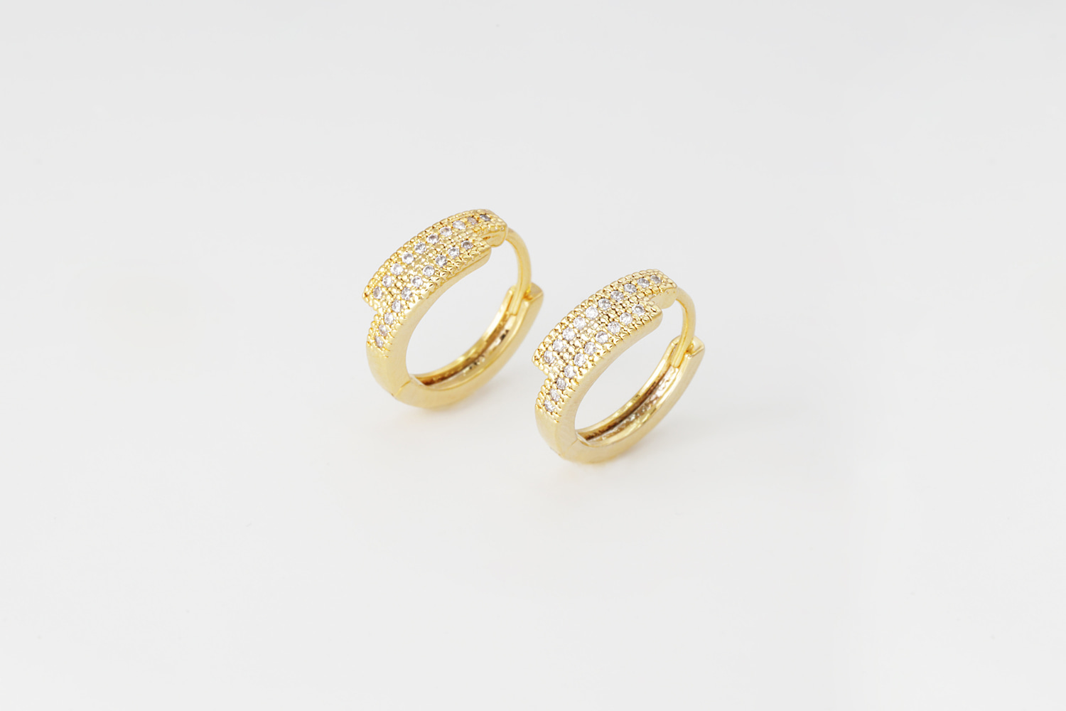 [T68-P2] Double Cubic One Touch Earring, 16K gold plated brass, Nickel free, Cubic zirconia