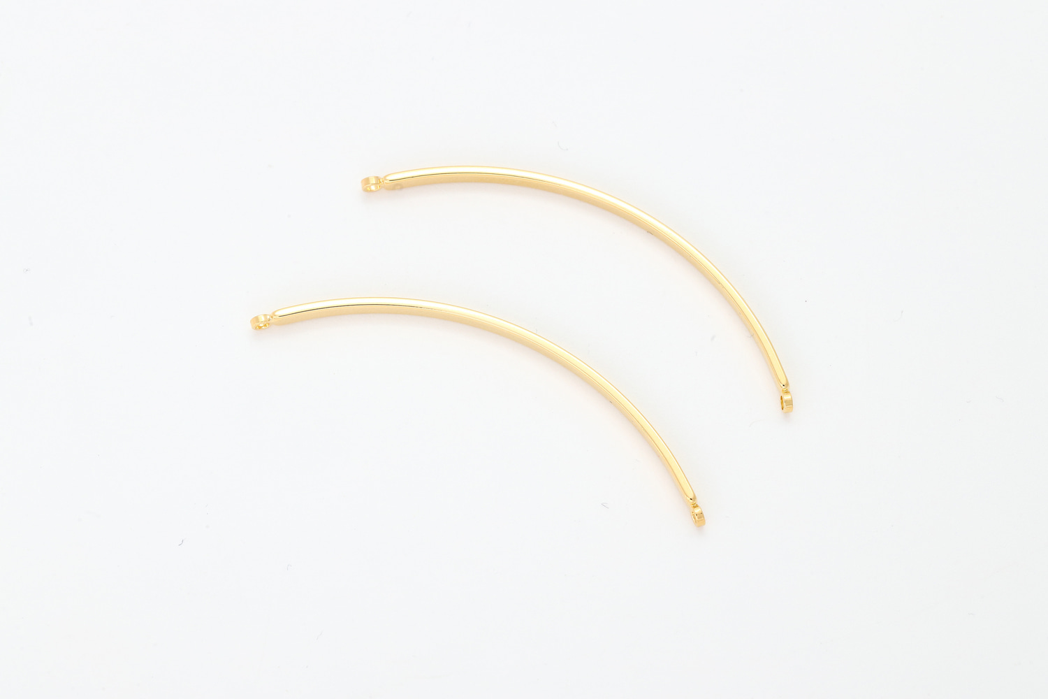 [C24-G1] Curved bar w/ 2 loops, Brass, Nickel free, 46x2mm, Bangle, Bracelet, Stamping blank, Not easily tarnish, 2 pcs