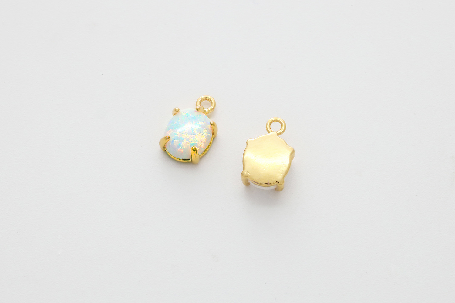 [N27-R12] White opal oval charm, Nickel free, Brass, Lab-created opal, Dainty charm, Necklace supplies, Jewelry makings, 1 piece