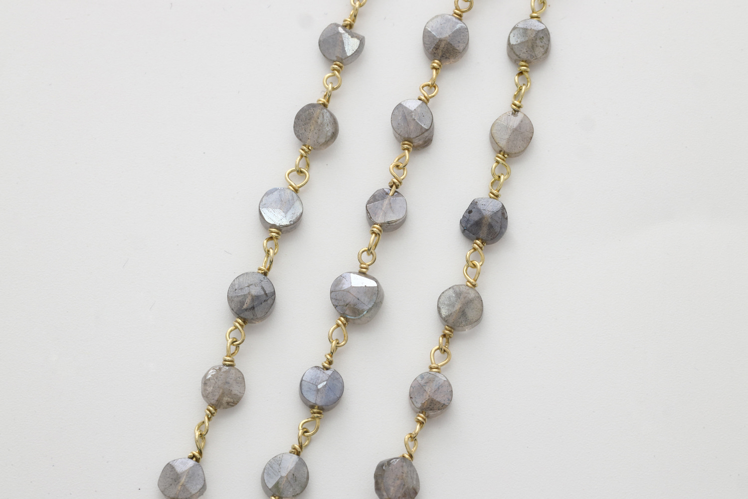 [CJ54-08] Gemstone chain (Mystic Labradorite), Gold plated 925 silver, Gemstones, Nickel free, Jewelry making supplies, 1m