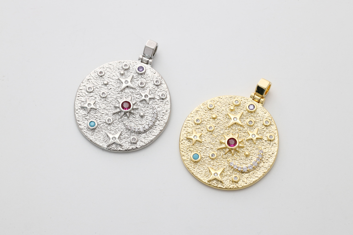[Q16-VC6] Starry night round pendant, Brass, CZ, Nickel free, Bold pendant, Unique charm, Jewelry making supplies, 1 piece (Q16-R2, Q16-R2R)