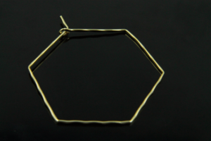 [S88-G5]Hexagon earring hoop, Nickel free, 2 pcs, 43x36mm, 1mm thick, 16K gold plated brass, Geometric hoop