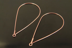 [S97-G1]Teardrop ear hoop w/link, 2 pcs, 47x24mm, 0.7mm thick, Rose gold plated brass, Openable hoop, Ear wires, Earring making