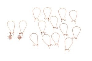 [E7-P3]Kidney Earring Hook w/ Link (L), 10 pcs, Rose gold plated brass, Earring Making, Earring component, Earring Supplies