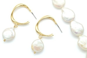 Fresh-water pearl - Flat round, High quality, M15-R13, 2 pcs