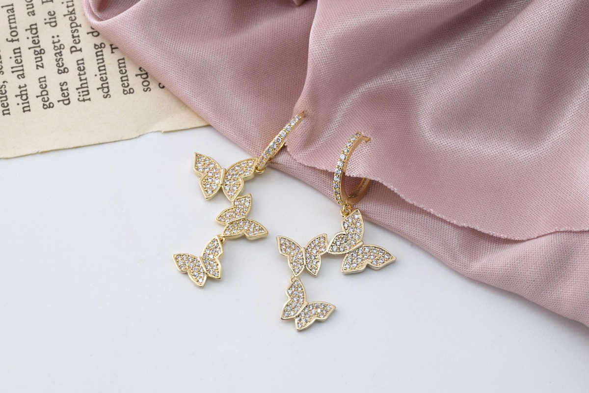 Trio cubic butterfly charm, 1 piece, [Q13-R12]