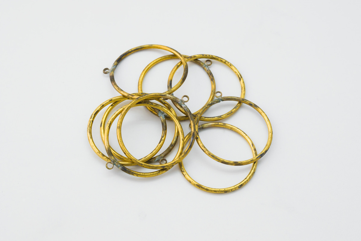 [RT24-G4] RAW BRASS, Ring charm w/ a link (25mm), Wholesale jewelry, Raw material for plaitng, 10 pcs