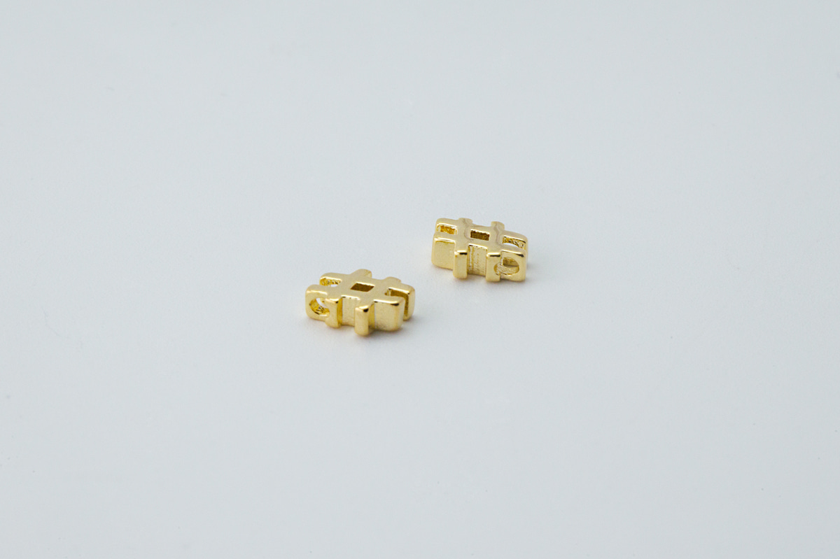 [S100-G5] Hash(#) charm, Brass, Nickel free, Tiny hash pendant, Personalized jewelry makings, Necklace supplies, 2 pcs