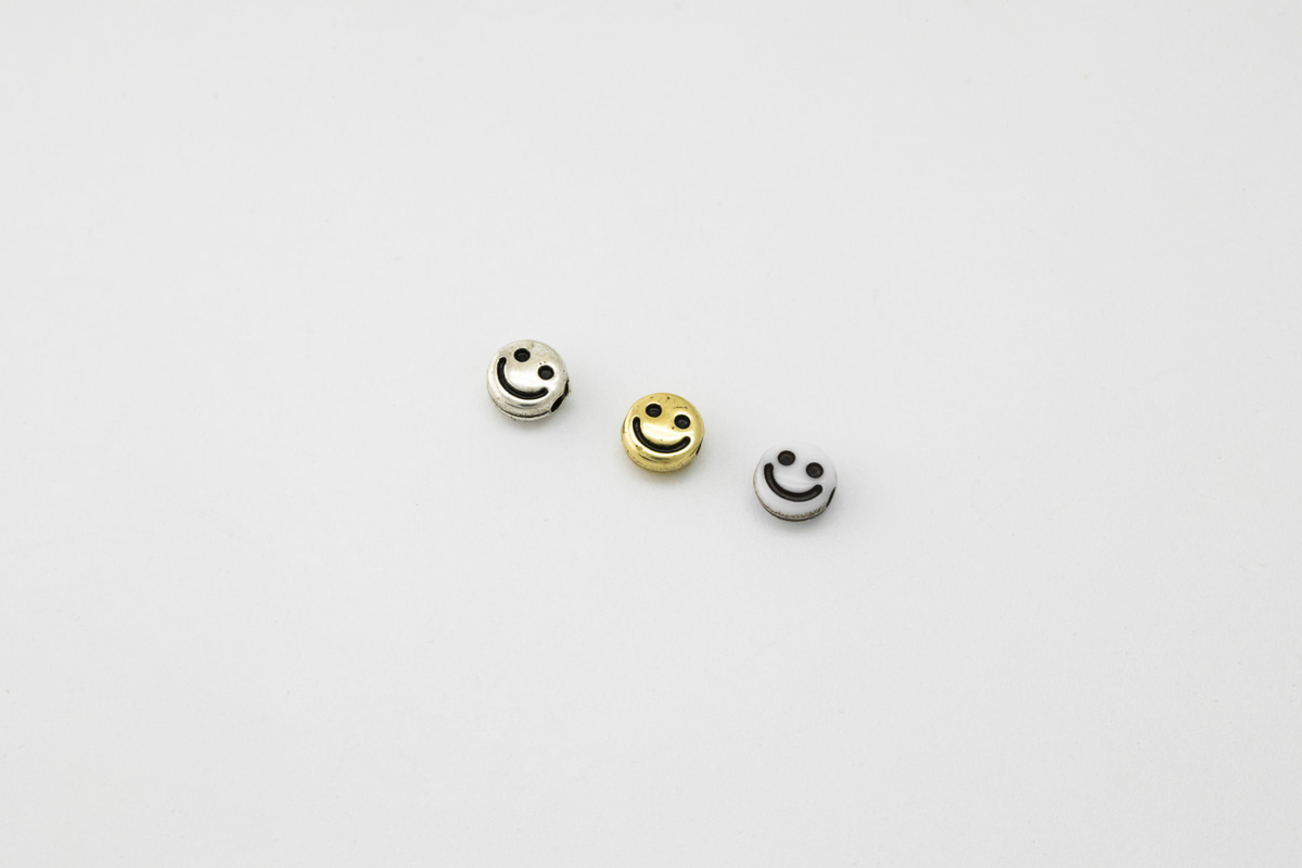 [V5-VC1] Antique mile connector charm, CCB, Acrylic, Smiley face, Smile pendant, Necklace making, Unique charm, 30 pcs