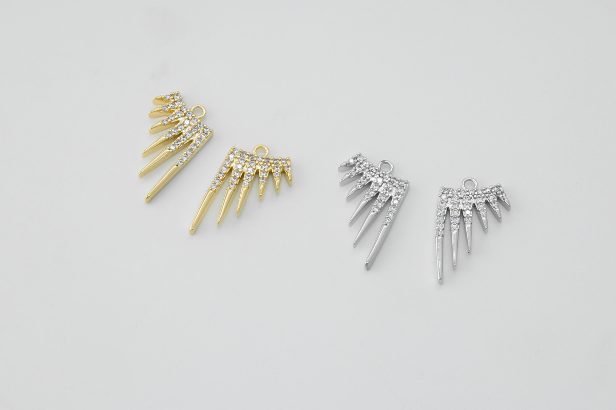 [Y5-VC1] Cubic spike charm, Brass, CZ, Nickel free, Jewelry supplies, Earring makings, Unique charm, 1 pair (2 pcs)