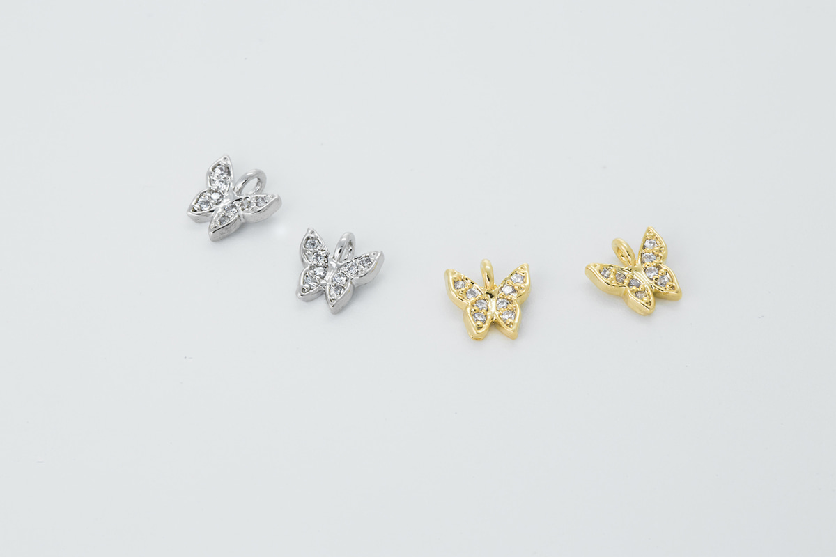 [N24-VC1] Tiny cubic butterfly charm, Brass, CZ, Nickel free, Jewelry supplies, Earring makings, Animal charm, 2 pcs