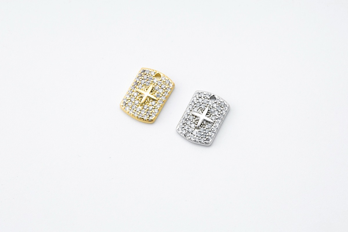 [N37-VC5] Cubic cross charm, Brass, CZ, Nickel free, Rectangle charm, Necklace makings, Jewelry making supplies, 1 piece (N37-G11, N37-G11R)