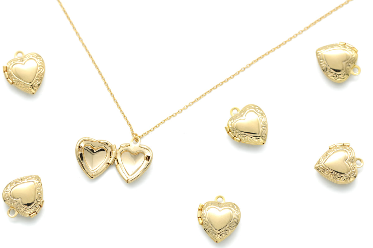 Mini Heart Locket Pendant, Q8-G13, 2 pcs