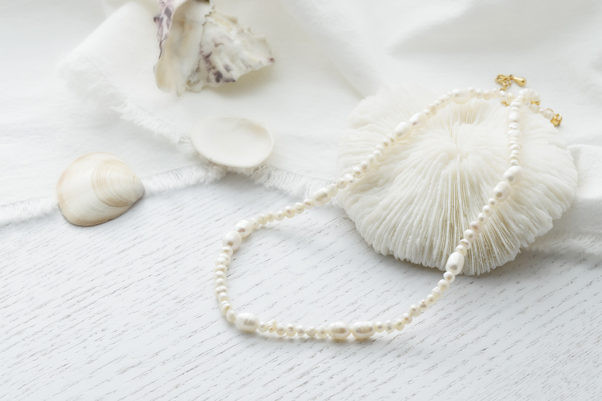 [NB20-14] Pearl necklace, Brass, Fresh-water pearl, Nickel free, Handmade jewelry, Pearl necklace, 1 piece