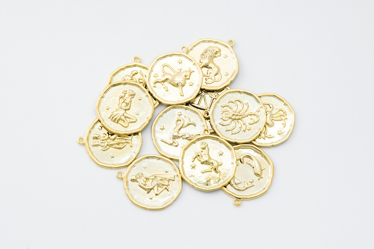 [K10-G13] Zodiac Coin Pendant Set, 18mm, Inner 1.2mm link, 16K Gold Plated Brass, Nickel free, Constellation, Birth Sign, 1 set(12 pcs)