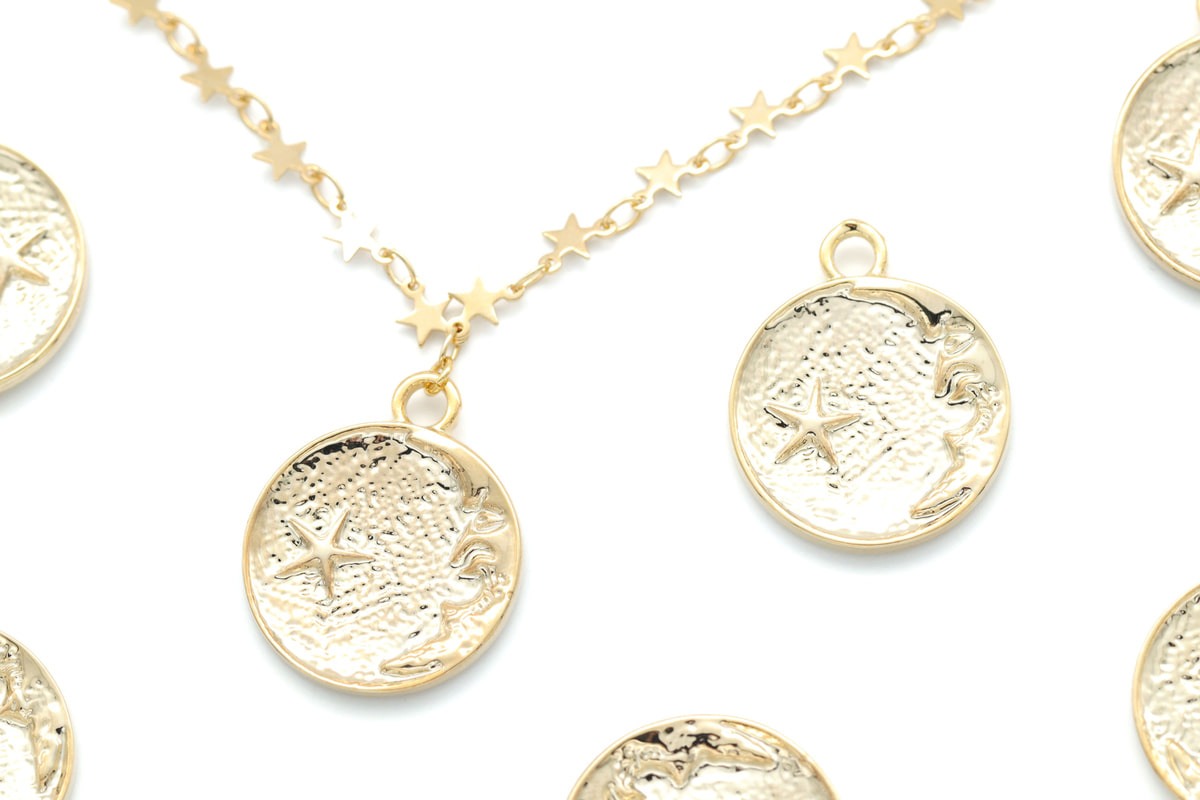 Moon and Star Coin Pendant, O3-P6, 2 pcs