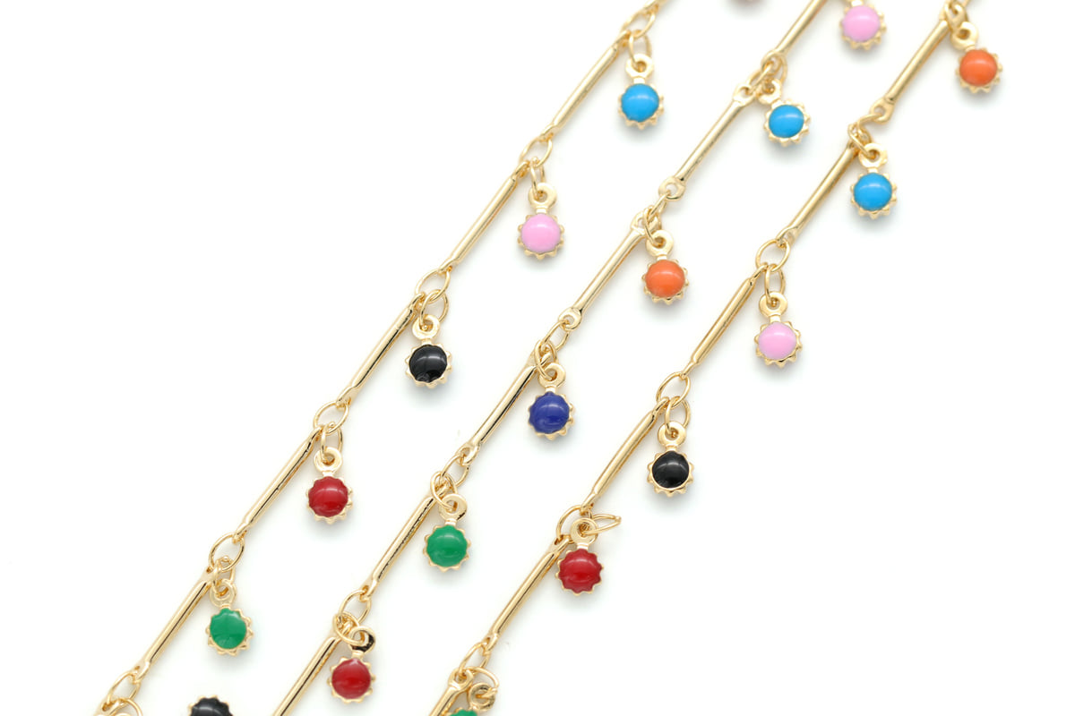 [CJ46-04]Stick chain w/ epoxy charm, 1m, 16K gold plated copper brass, Acrylic charm, Nickel free, Dainty chain, Jewelry making