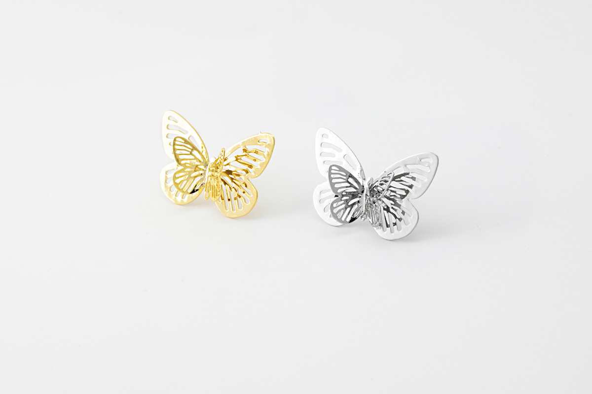 [EB20-47] Butterfly stud earrings (L), Brass, Nickel free, Handmade jewelry, Post earrings, Butterfly earrings, 2 pcs per style