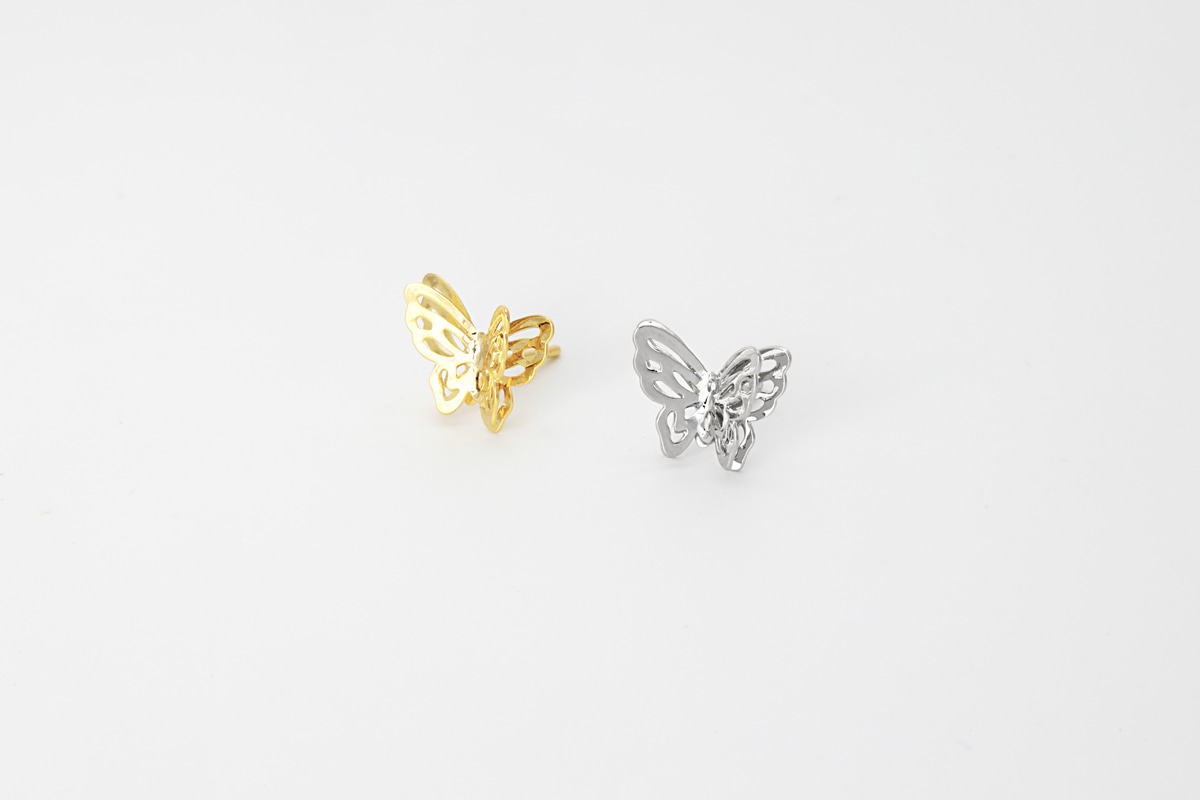 [EB20-48] Butterfly stud earrings (S), Brass, Nickel free, Handmade jewelry, Post earrings, Butterfly earrings, 2 pcs per style
