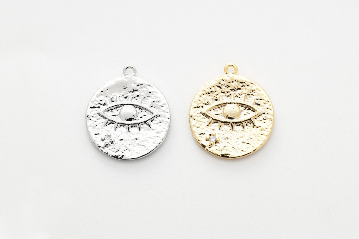 [Q6-VC4] Cubic round evil eye pendant, CZ, Brass, Nickel free, Evil eye pendant, Necklace supplies, Jewelry makings, 1 piece (Q6-G18, Q6-G18R)
