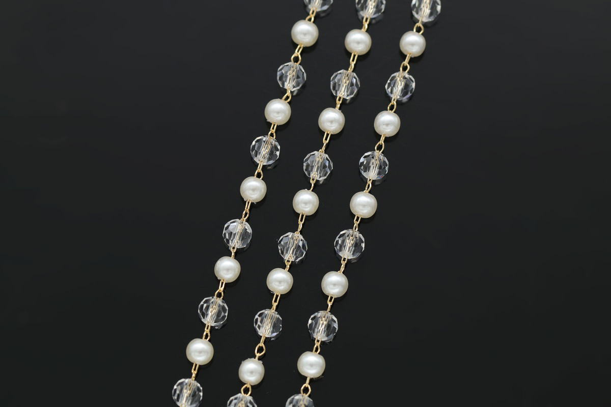 [CJ46-06]Acrylic pearl chain, 1m, 16K gold plated brass, Acrylic beads & pearl, Nickel free, Dainty chain, Pearl chain, A702