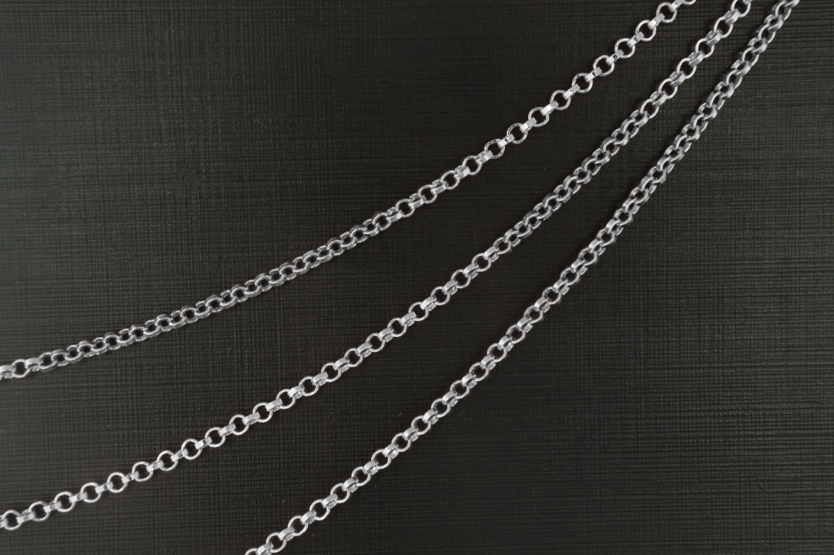 [CJ24-06R] Chain BL-32A, Nickel free, 1m, Original rhodium plated copper brass, Design chain, Outer diameter 2.5mm, 0.8mm thick