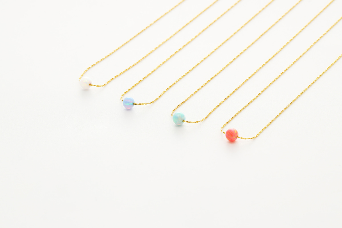 [NB20-VC4] Dainty opal necklace, Brass, Red brass, Lab-created opal, Nickel free, Handmade jewelry, Simple necklace, 1 piece
