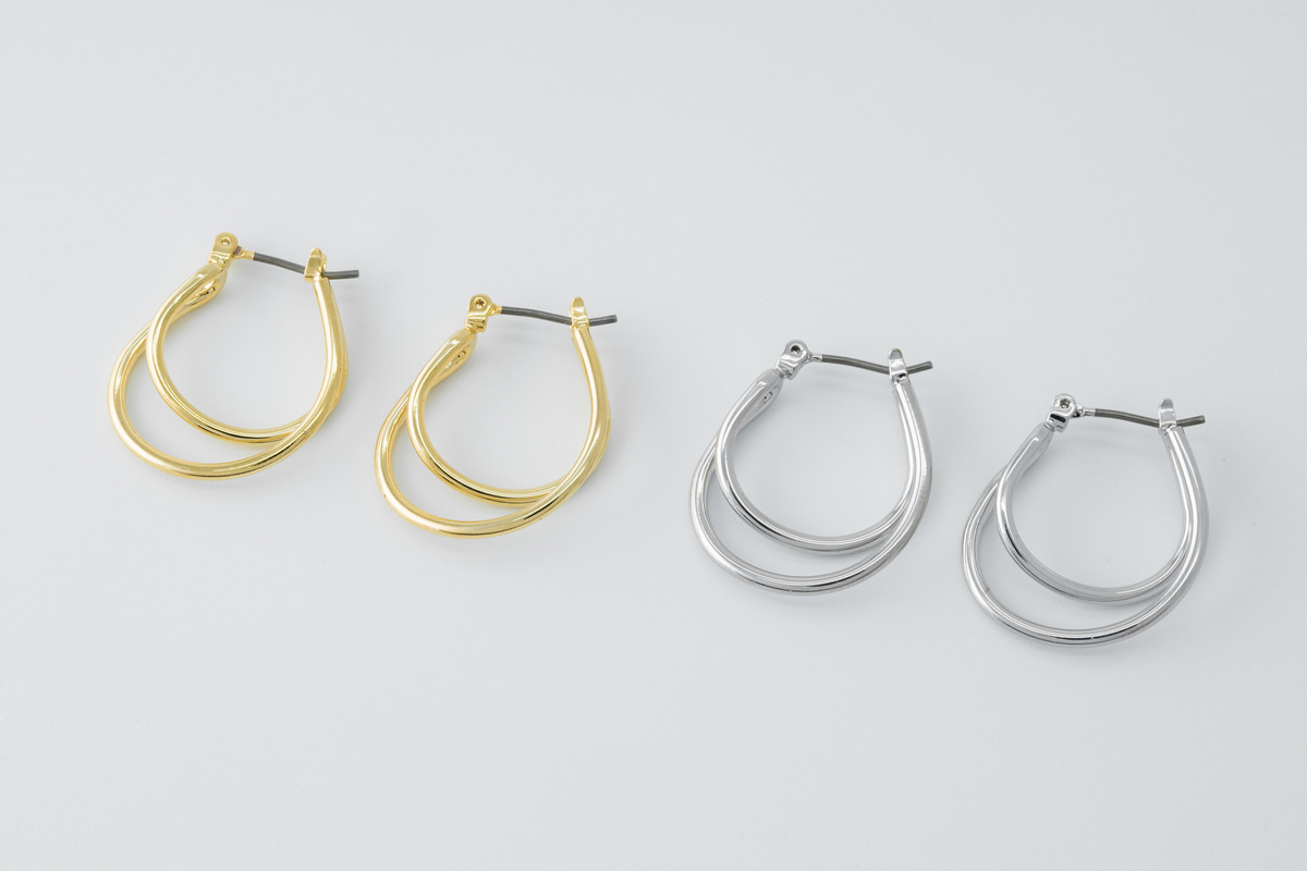 [EB20-43] Saddle shaped hoop, Brass, Nickel free, Handmade jewelry, Fashion jewelry, Hoop earrings, Simple earrings, 2 pcs (D6-G1, D6-G1R)