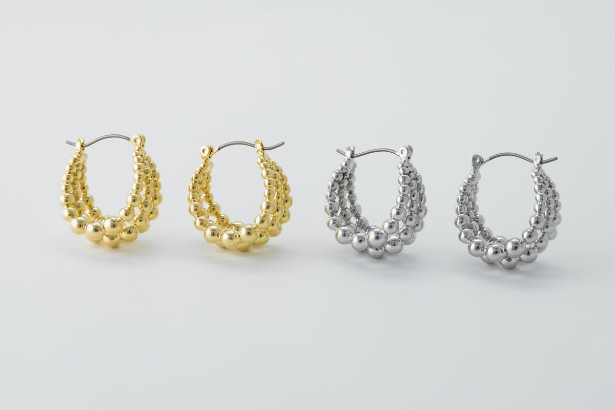 [EB20-41] Unique bold ball hoop, Brass, Nickel free, Handmade jewelry, Fashion jewelry, Hoop earrings, Simple earrings (D5-G10, D5-G10R)