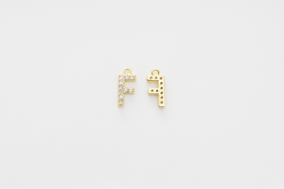 [AF-G20] Cubic capital letter charm F, Brass, Cubic zirconia, Nickel free, Jewelry making supplies, Alphabet charm, Initial charm, 1 piece
