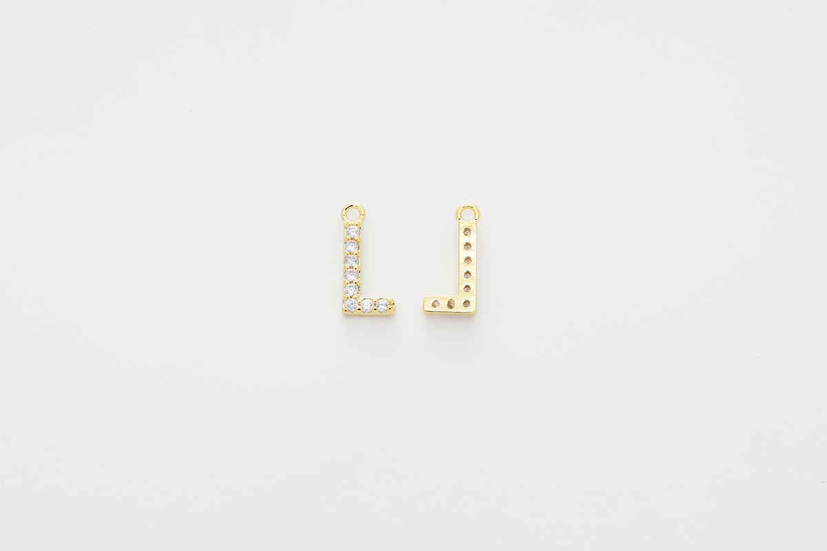 [AL-G20] Cubic capital letter charm L, Brass, Cubic zirconia, Nickel free, Jewelry making supplies, Alphabet charm, Initial charm, 1 piece