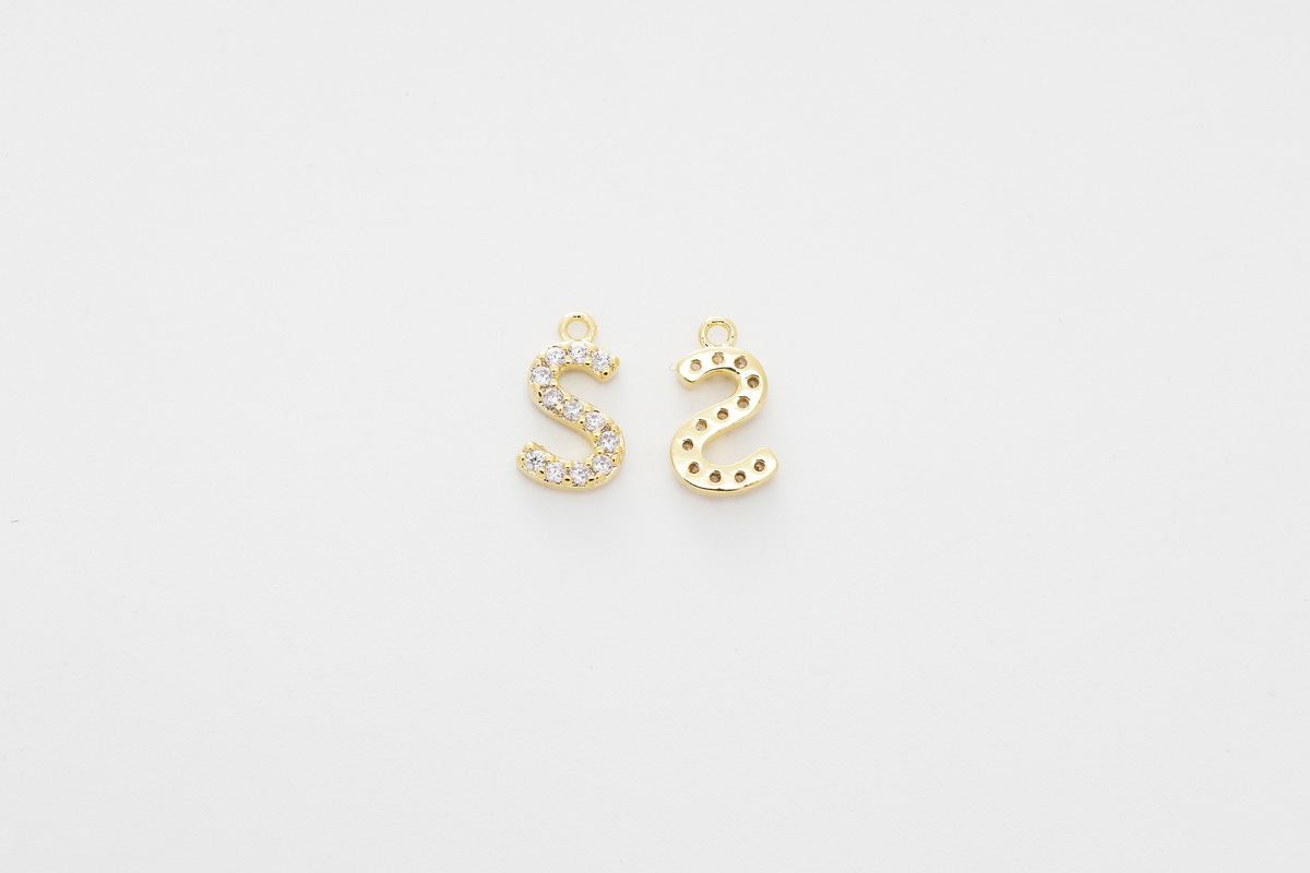 [AS-G20] Cubic capital letter charm S, Brass, Cubic zirconia, Nickel free, Jewelry making supplies, Alphabet charm, Initial charm, 1 piece