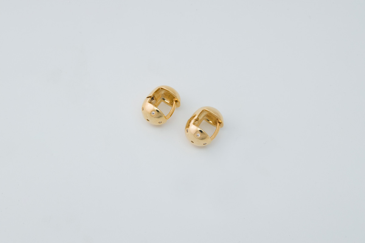 [D3-G2] Minimal helmet earring, Brass, CZ, Nickel free, Handmade jewelry, Fashion jewelry earrings, Dainty earrings