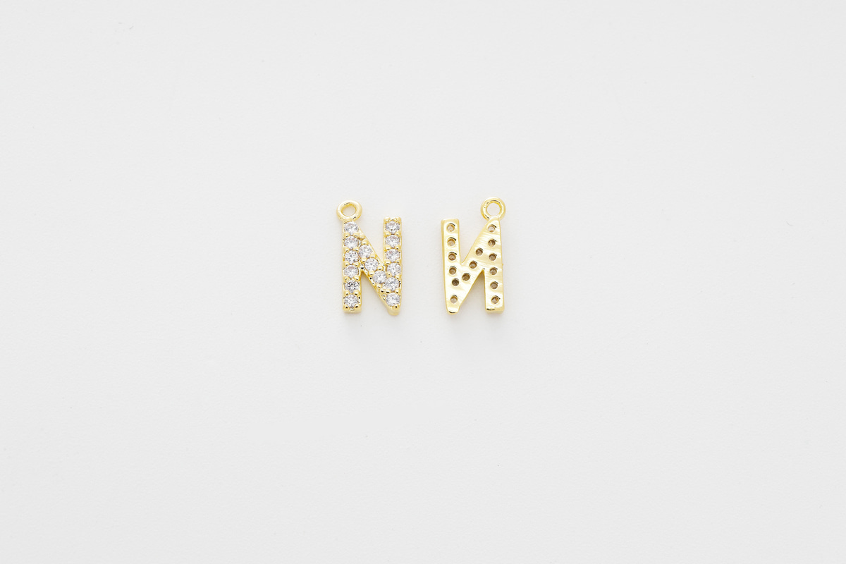 [AN-G20] Cubic capital letter charm N, Brass, Cubic zirconia, Nickel free, Jewelry making supplies, Alphabet charm, Initial charm, 1 piece