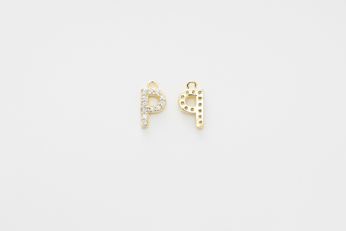 [AP-G20] Cubic capital letter charm P, Brass, Cubic zirconia, Nickel free, Jewelry making supplies, Alphabet charm, Initial charm, 1 piece