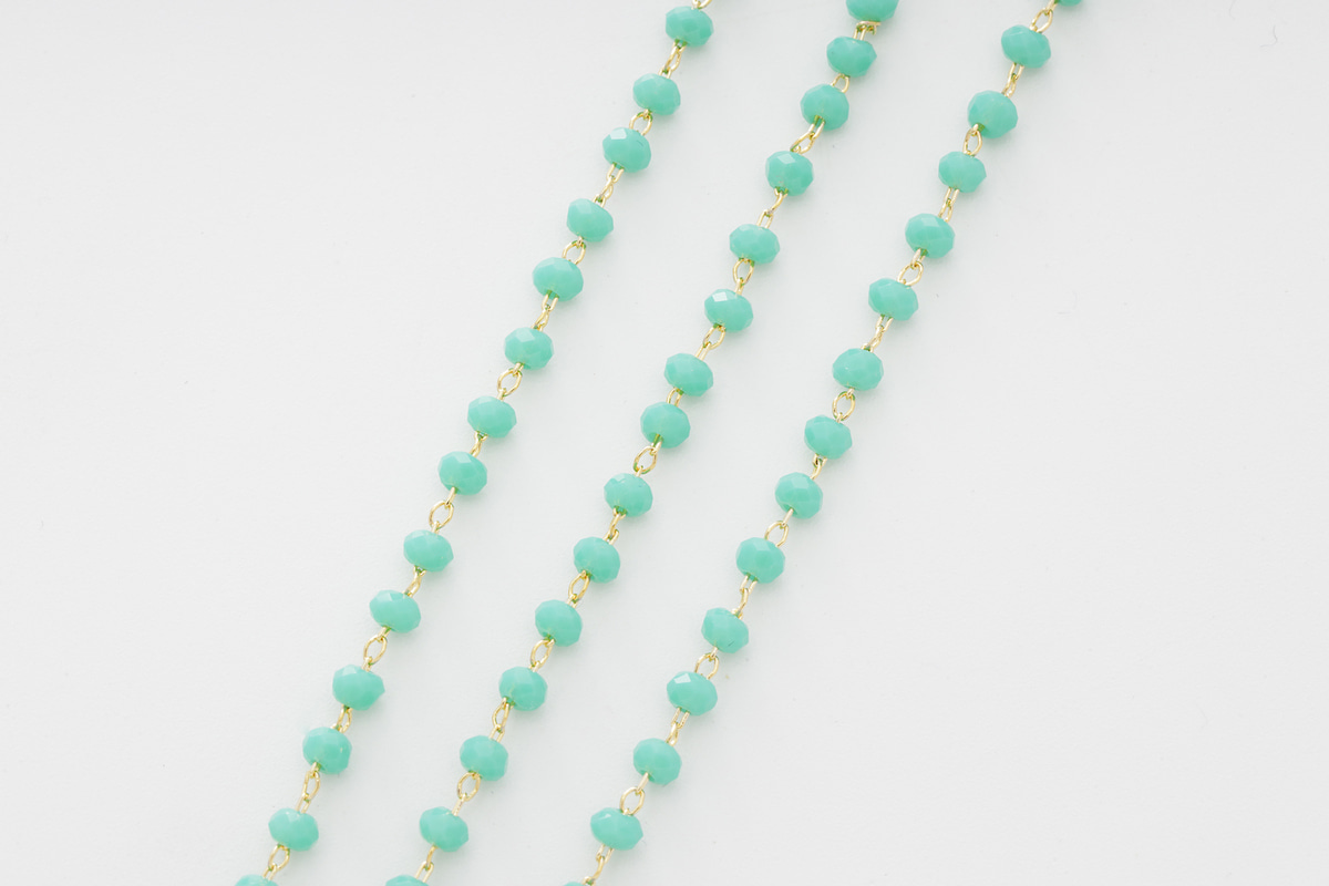[CJ53-10] Turquoise beads chain, Beads, Brass, Nickel free, Dainty chain, Jewelry making supplies, 1m