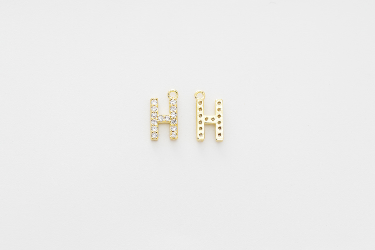[AH-G20] Cubic capital letter charm H, Brass, Cubic zirconia, Nickel free, Jewelry making supplies, Alphabet charm, Initial charm, 1 piece