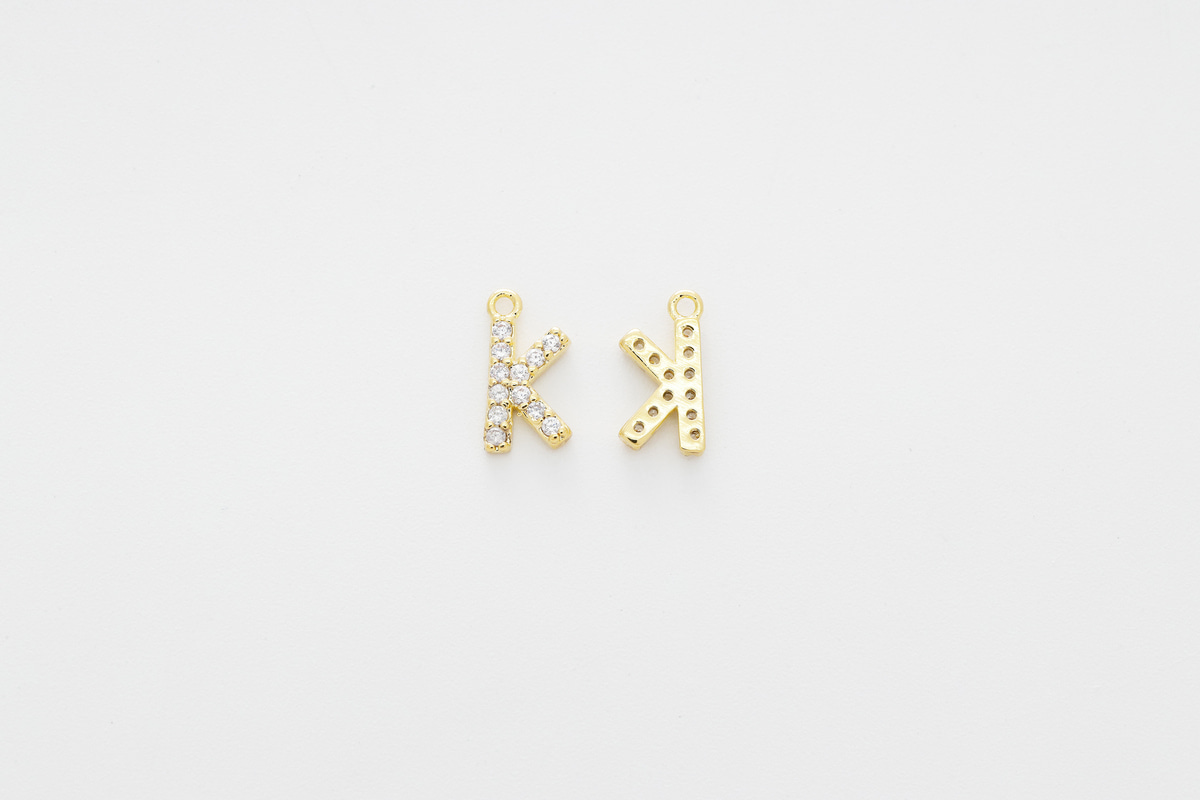 [AK-G20] Cubic capital letter charm K, Brass, Cubic zirconia, Nickel free, Jewelry making supplies, Alphabet charm, Initial charm, 1 piece