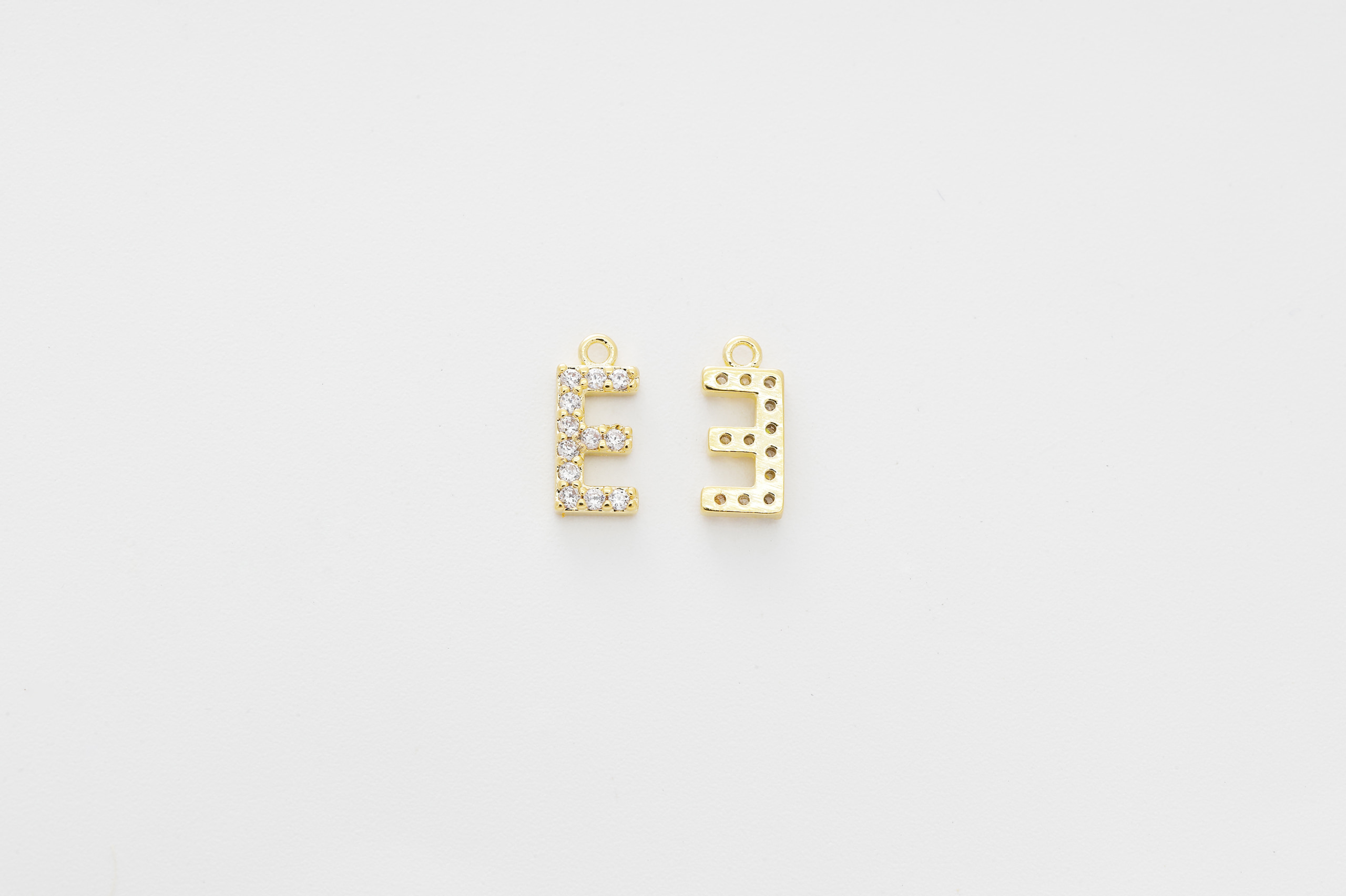 [AE-G20] Cubic capital letter charm E, Brass, Cubic zirconia, Nickel free, Jewelry making supplies, Alphabet charm, Initial charm, 1 piece