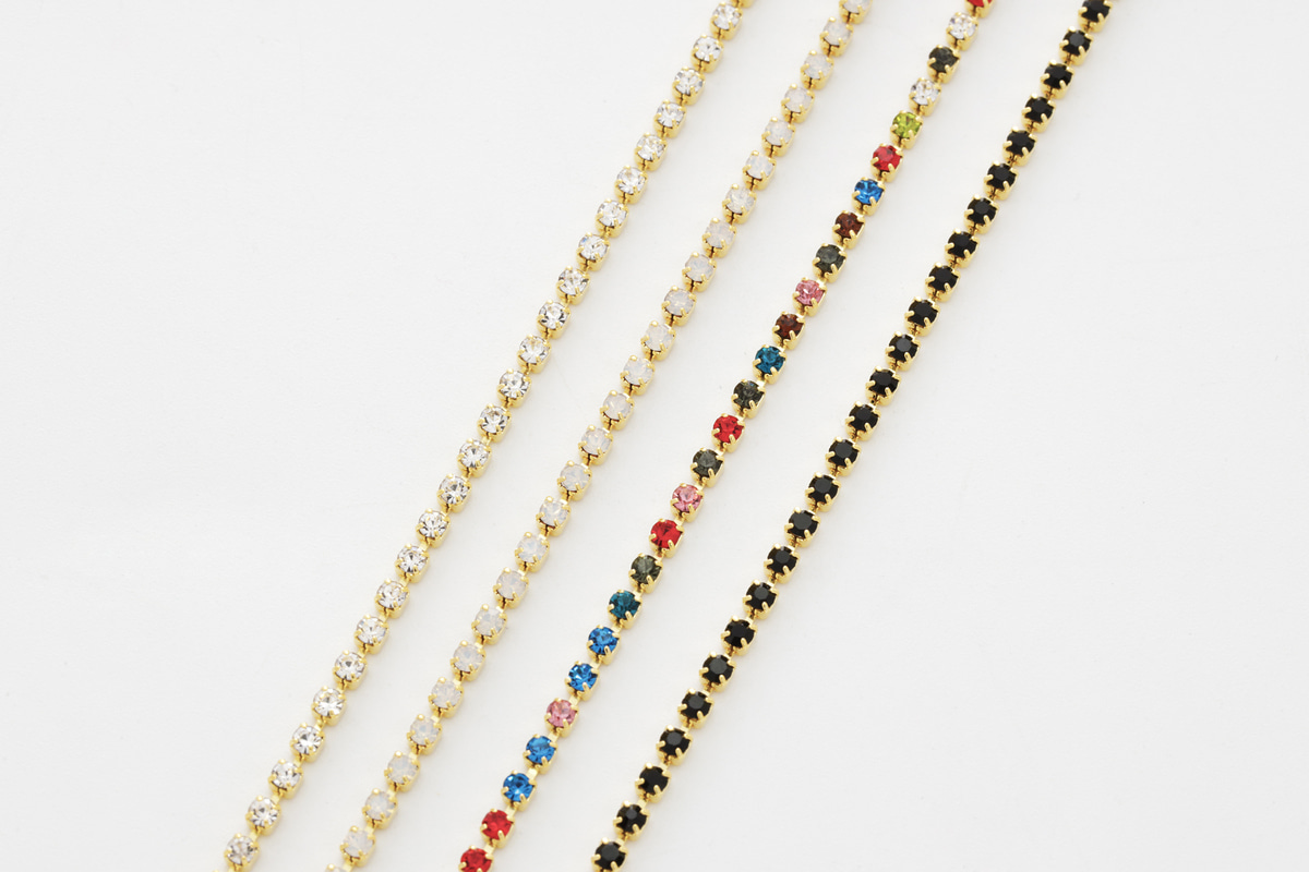 [CJ53-VC1] Dainty cubic chain, Brass, CZ, Nickel free, Necklace making chain, Jewelry making supplies, Chain supplies, 1m