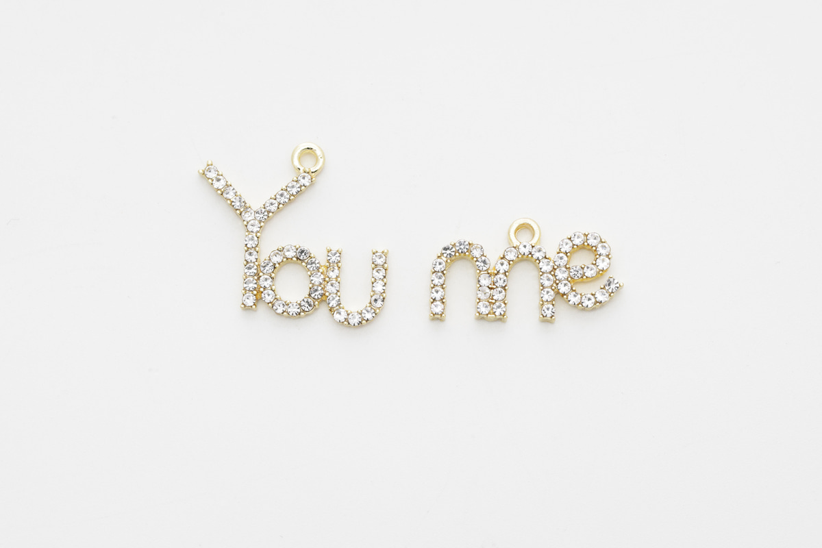 [T31-VC1] You and me pendant, Tin alloy, Cubic zirconia, Dainty charm, Letter charm, Jewelry making supplies, 2 pcs