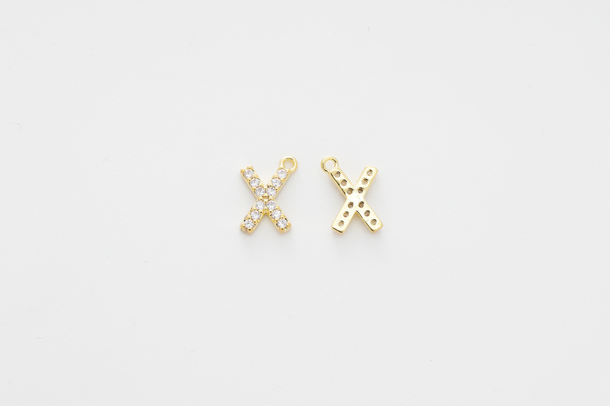 [AX-G20] Cubic capital letter charm X, Brass, Cubic zirconia, Nickel free, Jewelry making supplies, Alphabet charm, Initial charm, 1 piece