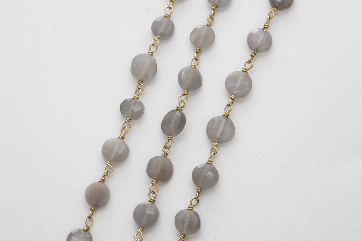 [CJ54-07] Gemstone chain (Gray moonstone), Gold plated 925 silver, Gemstones, Nickel free, Jewelry making supplies, 1m